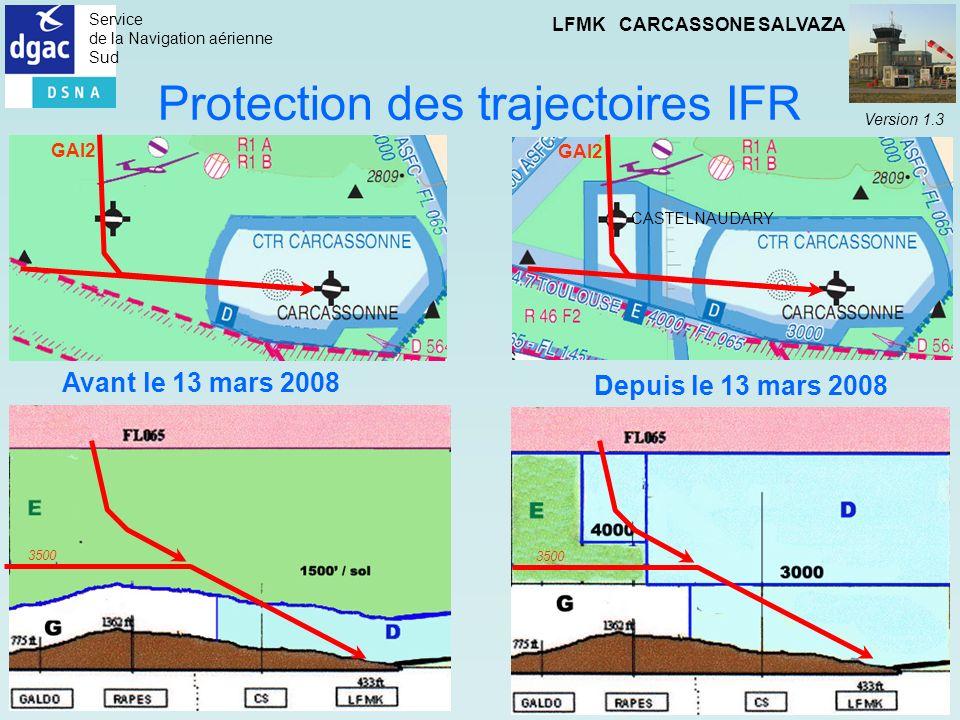 Service de la Navigation aérienne Sud LFMK CARCASSONE SALVAZA Version 1.3 Protection des trajectoires IFR CASTELNAUDARY 3500 GAI2 Depuis le 13 mars 20