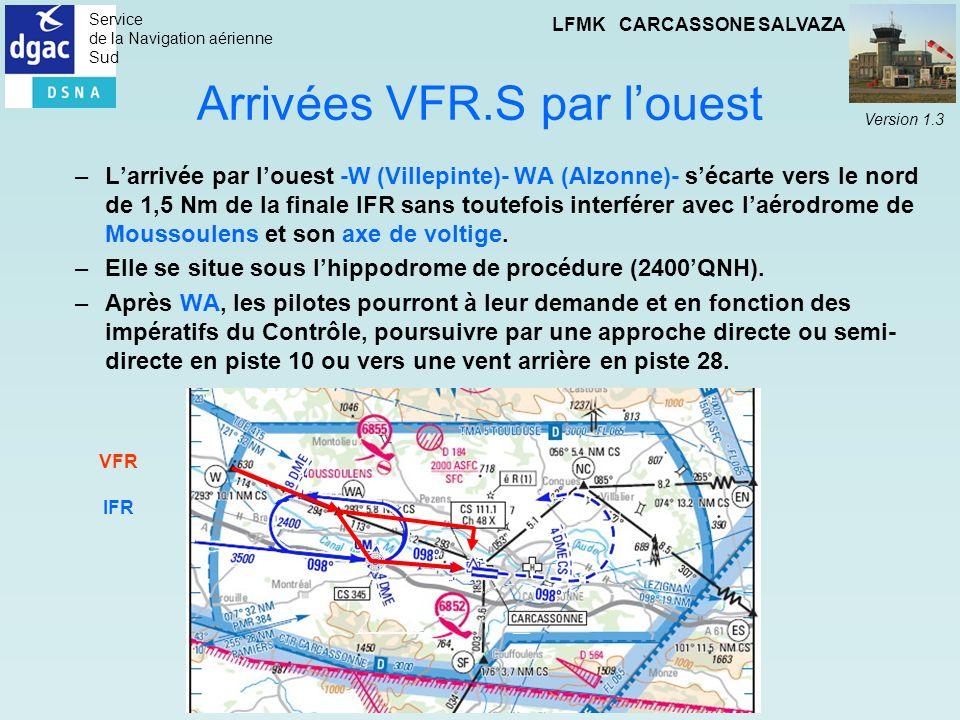 Service de la Navigation aérienne Sud LFMK CARCASSONE SALVAZA Version 1.3 Arrivées VFR.S par louest –Larrivée par louest -W (Villepinte)- WA (Alzonne)