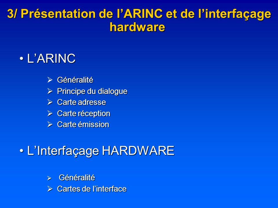 3/ Présentation de lARINC et de linterfaçage hardware 3/ Présentation de lARINC et de linterfaçage hardware LARINC LARINC Généralité Principe du dialo