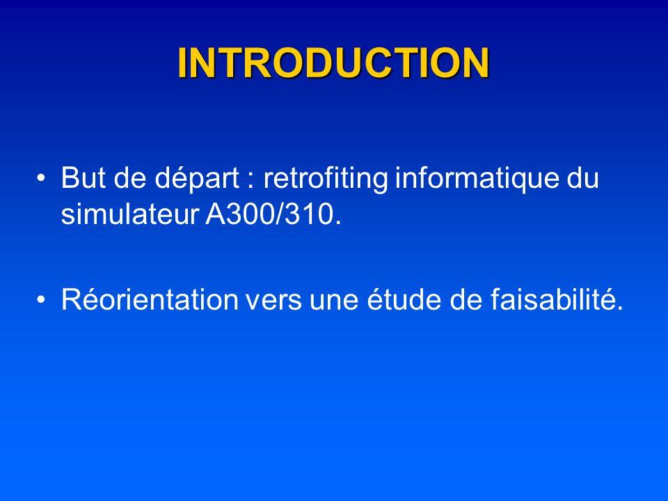 INTRODUCTION But de départ : retrofiting informatique du simulateur A300/310. Réorientation vers une étude de faisabilité.