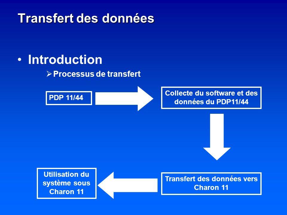 Transfert des données Introduction Processus de transfert PDP 11/44 Collecte du software et des données du PDP11/44 Transfert des données vers Charon 11 Utilisation du système sous Charon 11