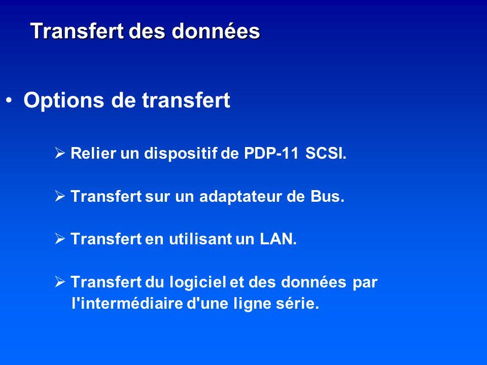 Options de transfert Relier un dispositif de PDP-11 SCSI. Transfert sur un adaptateur de Bus. Transfert en utilisant un LAN. Transfert du logiciel et