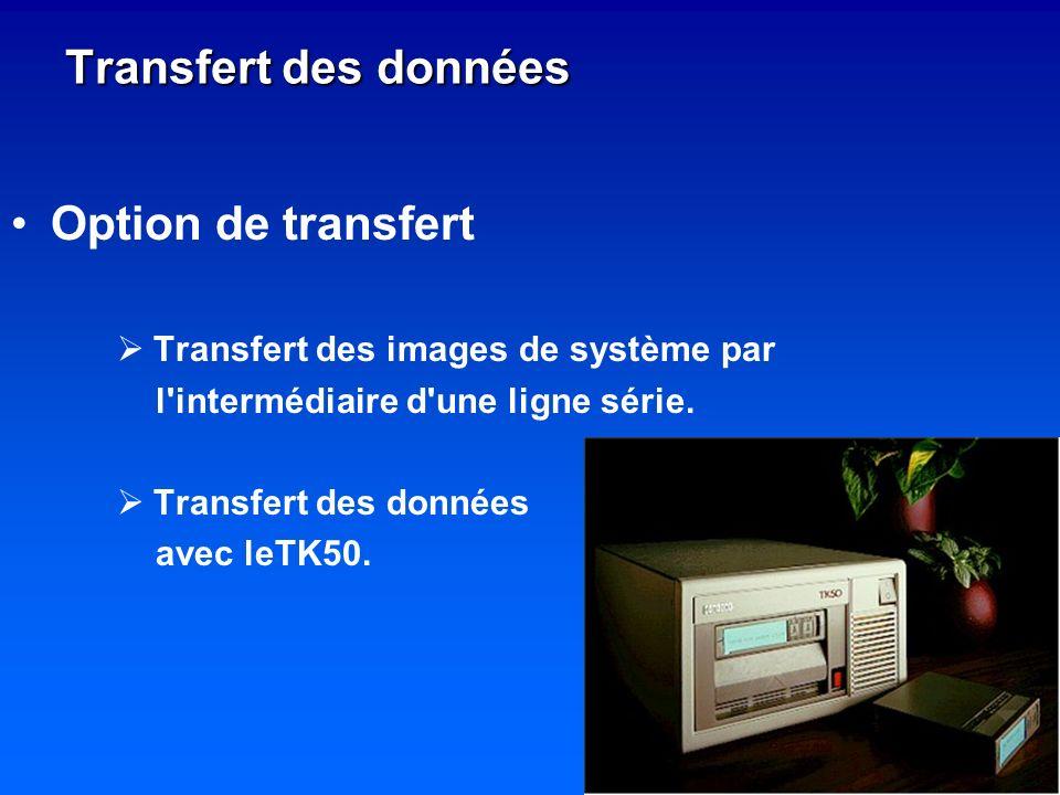 Option de transfert Transfert des images de système par l'intermédiaire d'une ligne série. Transfert des données avec leTK50. Transfert des données