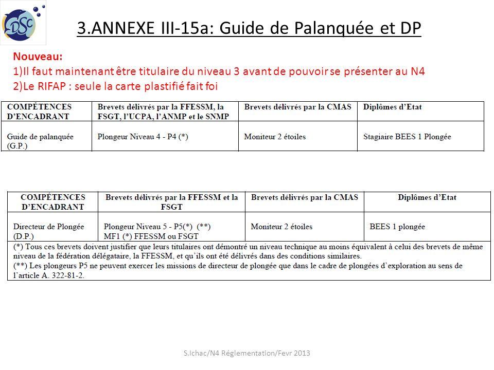 3.ANNEXE III-15a: Guide de Palanquée et DP Nouveau: 1)Il faut maintenant être titulaire du niveau 3 avant de pouvoir se présenter au N4 2)Le RIFAP : seule la carte plastifié fait foi S.Ichac/N4 Réglementation/Fevr 2013