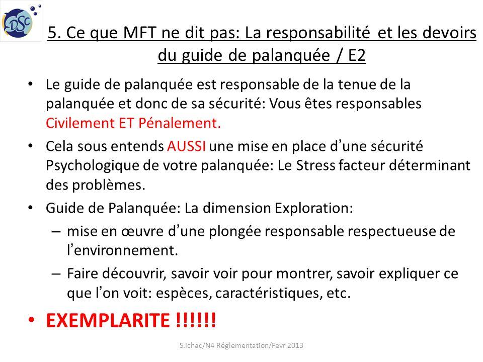 5. Ce que MFT ne dit pas: La responsabilité et les devoirs du guide de palanquée / E2 Le guide de palanquée est responsable de la tenue de la palanqué