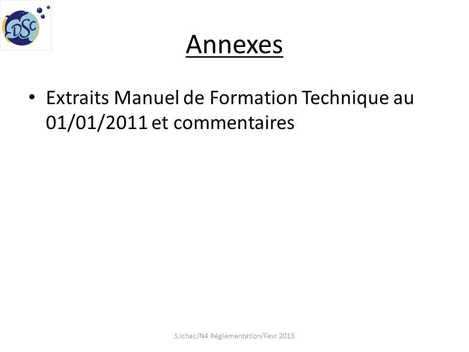 Annexes Extraits Manuel de Formation Technique au 01/01/2011 et commentaires S.Ichac/N4 Réglementation/Fevr 2013