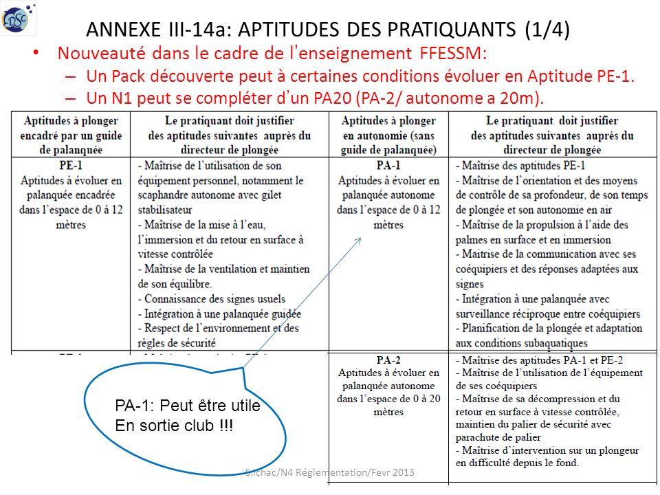 ANNEXE III-14a: APTITUDES DES PRATIQUANTS (1/4) Nouveauté dans le cadre de lenseignement FFESSM: – Un Pack découverte peut à certaines conditions évoluer en Aptitude PE-1.