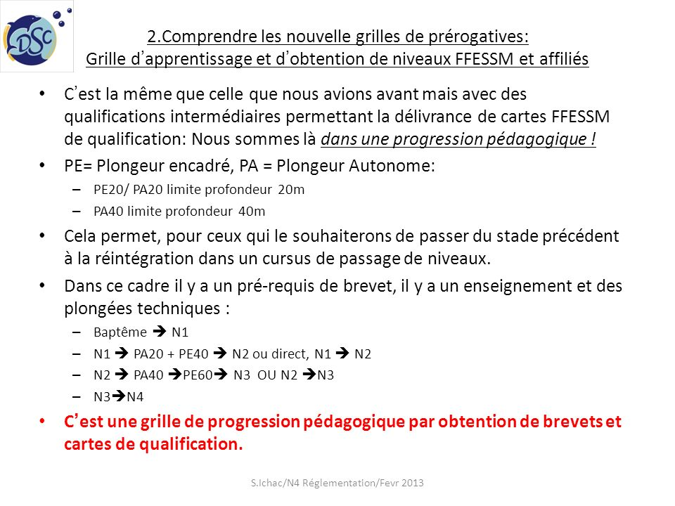 2.Comprendre les nouvelle grilles de prérogatives: Grille dapprentissage et dobtention de niveaux FFESSM et affiliés Cest la même que celle que nous a
