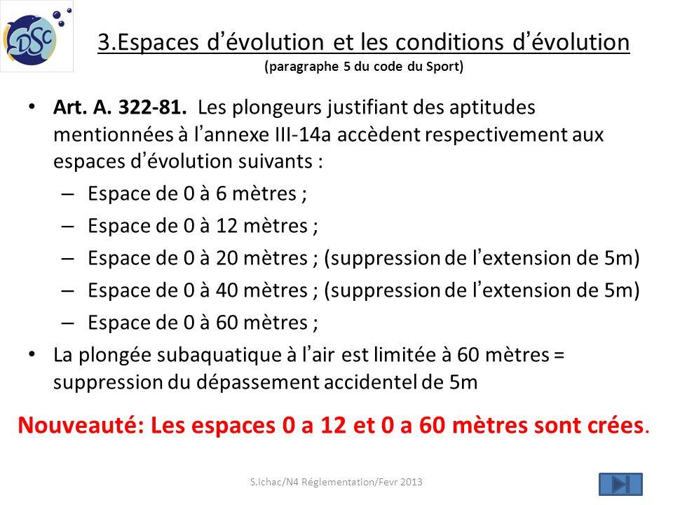 3.Espaces dévolution et les conditions dévolution (paragraphe 5 du code du Sport) Art. A. 322-81. Les plongeurs justifiant des aptitudes mentionnées à