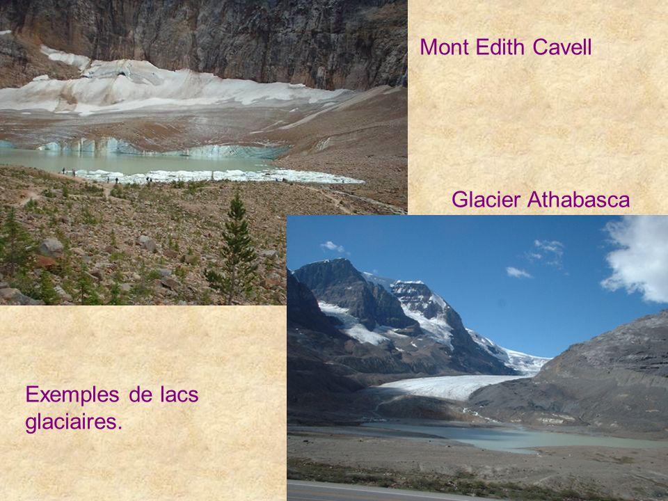 Exemples de lacs glaciaires. Glacier Athabasca Mont Edith Cavell