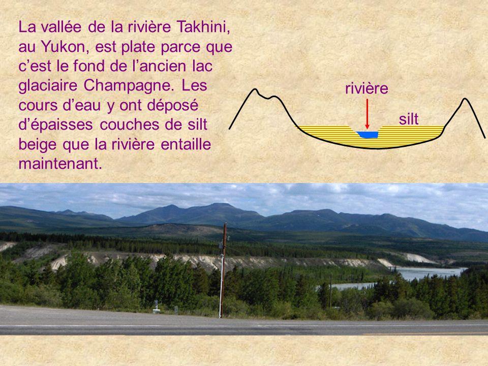 La vallée de la rivière Takhini, au Yukon, est plate parce que cest le fond de lancien lac glaciaire Champagne. Les cours deau y ont déposé dépaisses