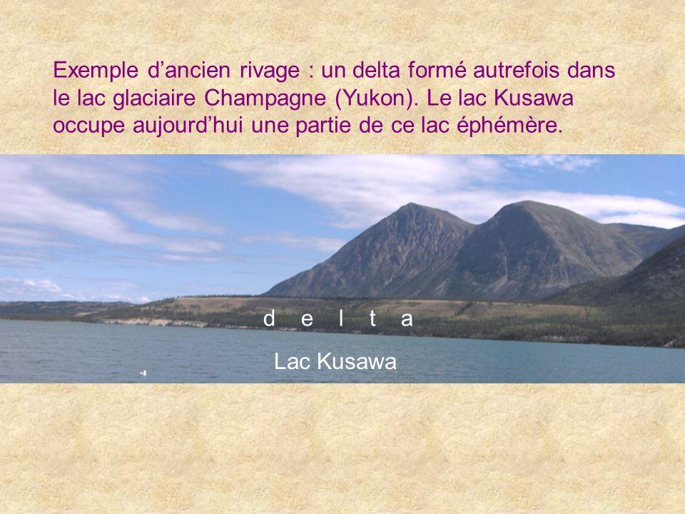 Exemple dancien rivage : un delta formé autrefois dans le lac glaciaire Champagne (Yukon). Le lac Kusawa occupe aujourdhui une partie de ce lac éphémè