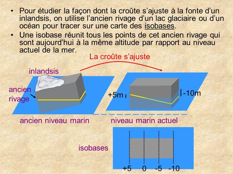 Pour étudier la façon dont la croûte sajuste à la fonte dun inlandsis, on utilise lancien rivage dun lac glaciaire ou dun océan pour tracer sur une ca