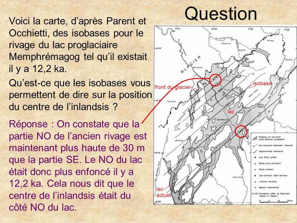 Question Voici la carte, daprès Parent et Occhietti, des isobases pour le rivage du lac proglaciaire Memphrémagog tel quil existait il y a 12,2 ka. Qu