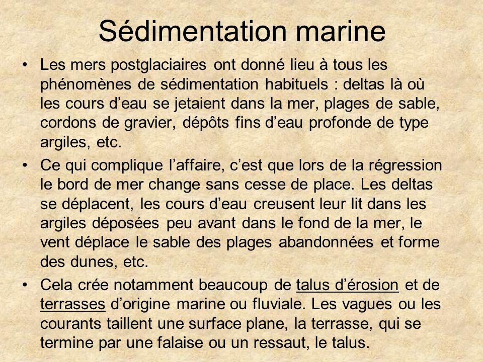 Sédimentation marine Les mers postglaciaires ont donné lieu à tous les phénomènes de sédimentation habituels : deltas là où les cours deau se jetaient