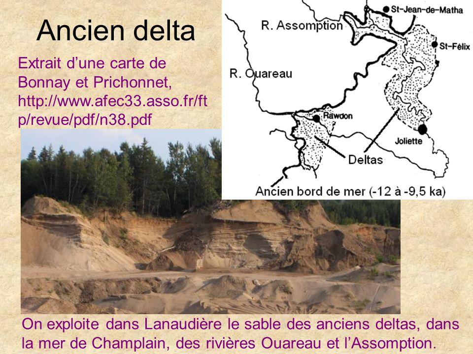 Ancien delta On exploite dans Lanaudière le sable des anciens deltas, dans la mer de Champlain, des rivières Ouareau et lAssomption. Extrait dune cart
