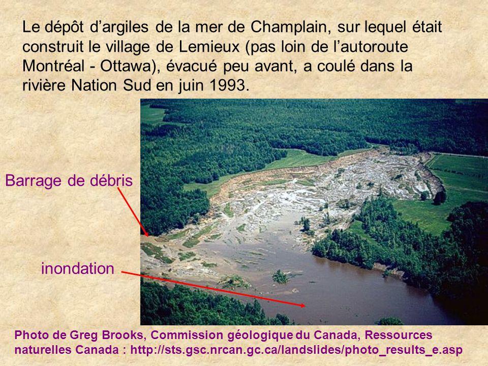 Le dépôt dargiles de la mer de Champlain, sur lequel était construit le village de Lemieux (pas loin de lautoroute Montréal - Ottawa), évacué peu avan