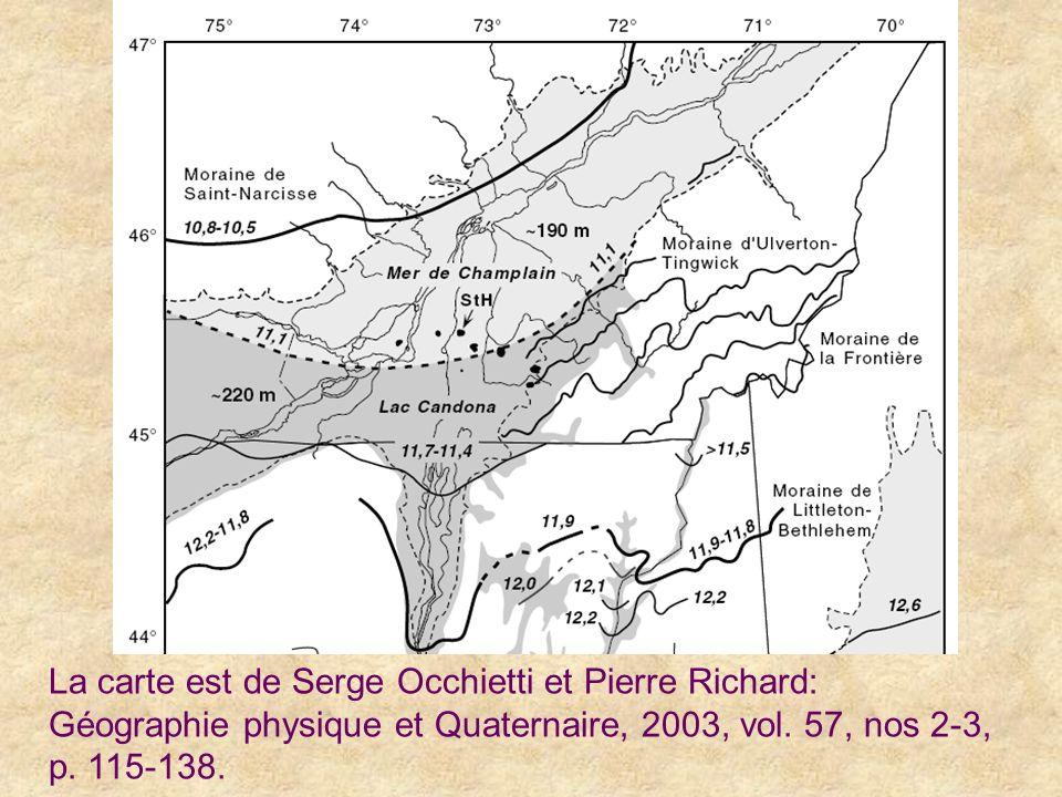 La carte est de Serge Occhietti et Pierre Richard: Géographie physique et Quaternaire, 2003, vol. 57, nos 2-3, p. 115-138.