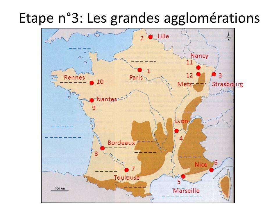 Etape n°3: Les grandes agglomérations 12 11 10 9 8 7 6 5 4 3 2 1 Nice Marseille Lyon StrasbourgMetz Nancy Lille ParisRennes Nantes Toulouse Bordeaux