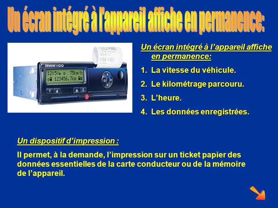 Un écran intégré à lappareil affiche en permanence: 1.La vitesse du véhicule. 2.Le kilométrage parcouru. 3.Lheure. 4.Les données enregistrées. Un disp