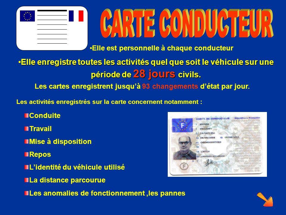 Elle est personnelle à chaque conducteur Elle enregistre toutes les activités quel que soit le véhicule sur une période de 28 jours civils.Elle enregistre toutes les activités quel que soit le véhicule sur une période de 28 jours civils.