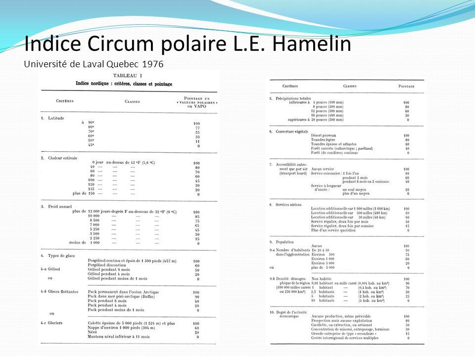 Indice Circum polaire L.E. Hamelin Université de Laval Quebec 1976