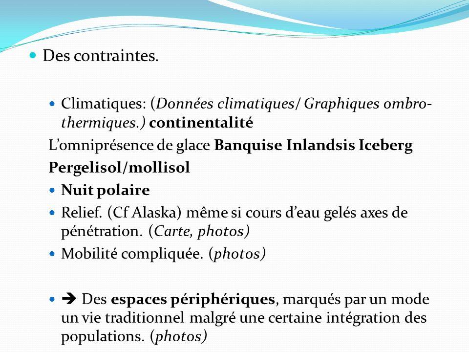Des contraintes. Climatiques: (Données climatiques/ Graphiques ombro- thermiques.) continentalité Lomniprésence de glace Banquise Inlandsis Iceberg Pe