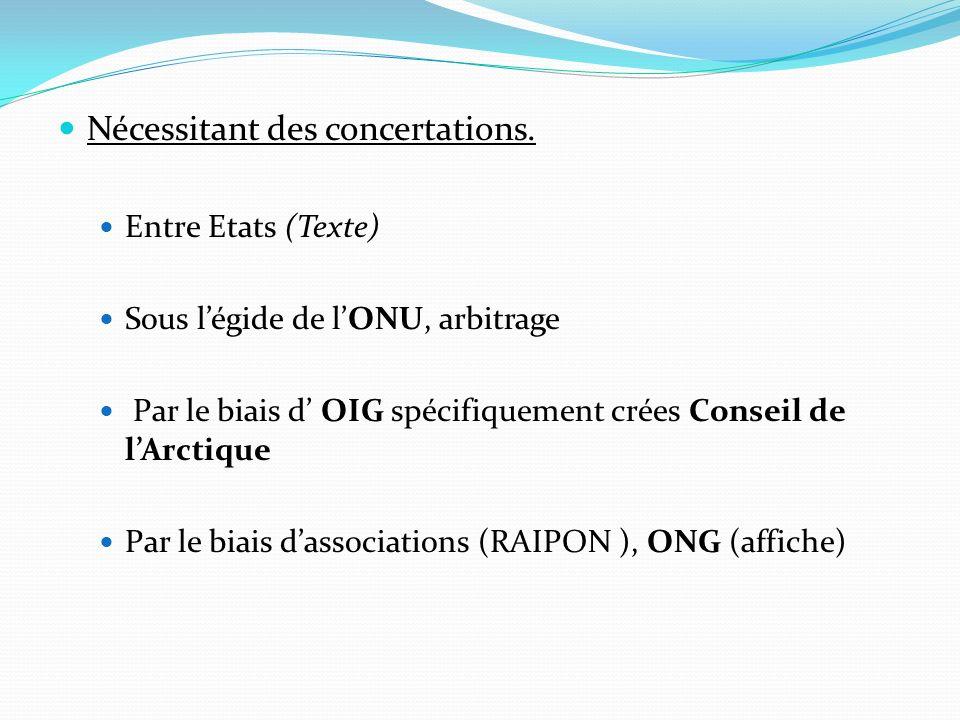 Nécessitant des concertations. Entre Etats (Texte) Sous légide de lONU, arbitrage Par le biais d OIG spécifiquement crées Conseil de lArctique Par le