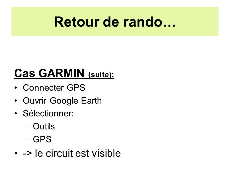 Retour de rando… Cas GARMIN (suite): Connecter GPS Ouvrir Google Earth Sélectionner: –Outils –GPS -> le circuit est visible