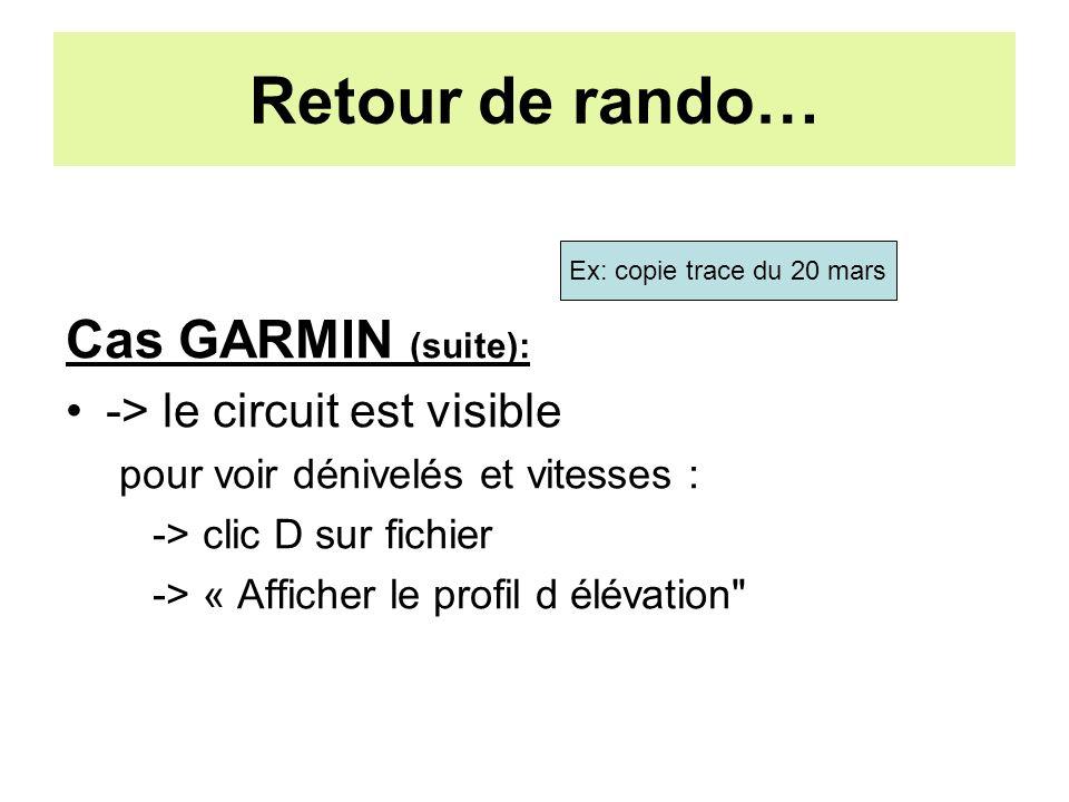 Retour de rando… Cas GARMIN (suite): -> le circuit est visible pour voir dénivelés et vitesses : -> clic D sur fichier -> « Afficher le profil d élévation Ex: copie trace du 20 mars