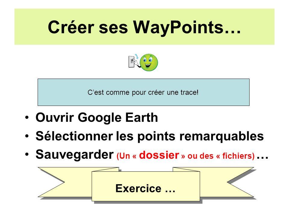 Créer ses WayPoints… Ouvrir Google Earth Sélectionner les points remarquables Sauvegarder (Un « dossier » ou des « fichiers) … Cest comme pour créer une trace.