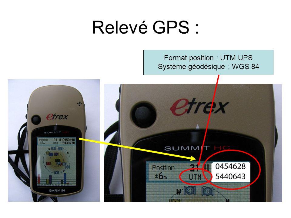 Relevé GPS : Format position : UTM UPS Système géodésique : WGS 84