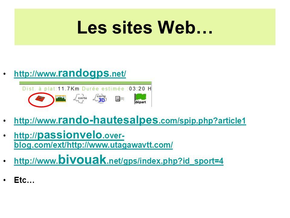 Les sites Web… http://www. randogps.net/http://www.