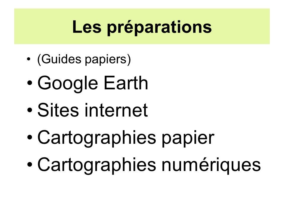 Les préparations (Guides papiers) Google Earth Sites internet Cartographies papier Cartographies numériques