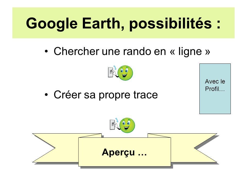 Google Earth, possibilités : Chercher une rando en « ligne » Créer sa propre trace Aperçu … Avec le Profil…