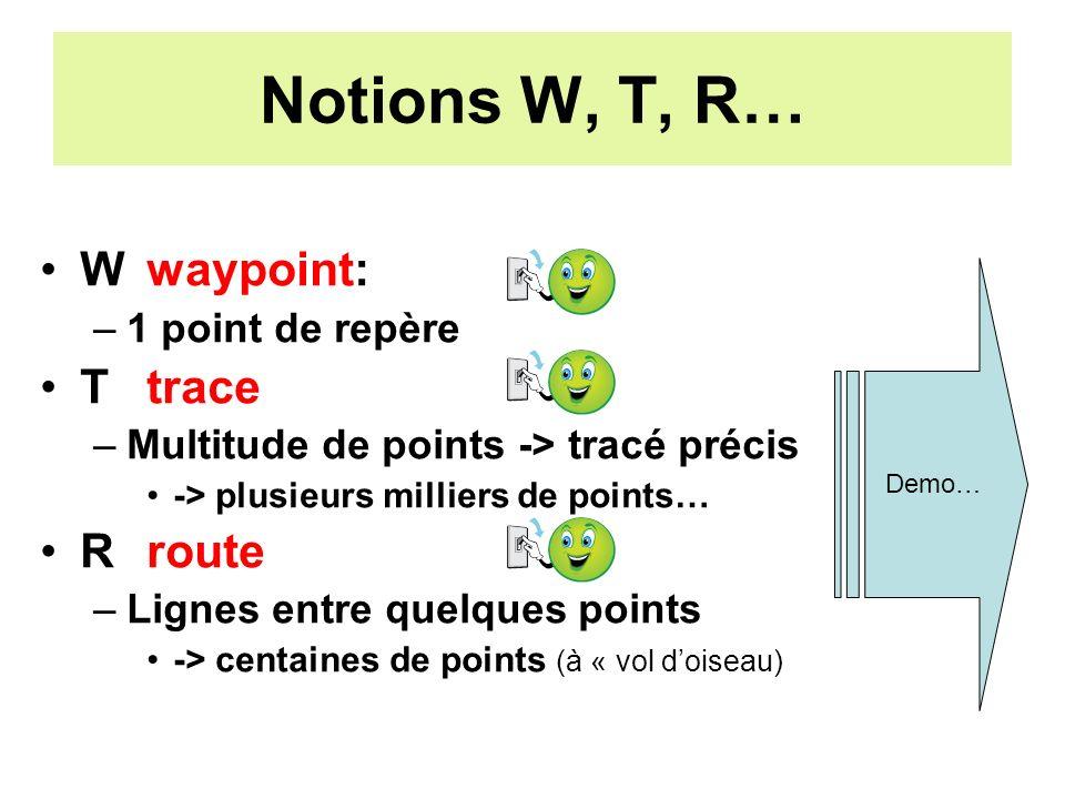 Notions W, T, R… Wwaypoint: –1 point de repère Ttrace –Multitude de points -> tracé précis -> plusieurs milliers de points… Rroute –Lignes entre quelques points -> centaines de points (à « vol doiseau) Demo…