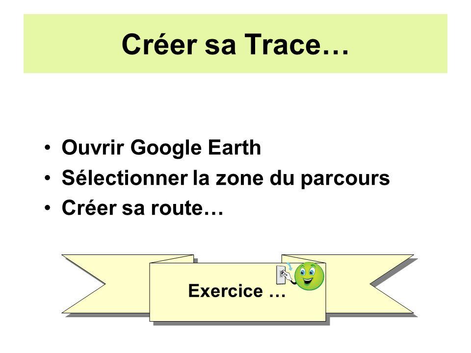 Créer sa Trace… Ouvrir Google Earth Sélectionner la zone du parcours Créer sa route… Exercice …