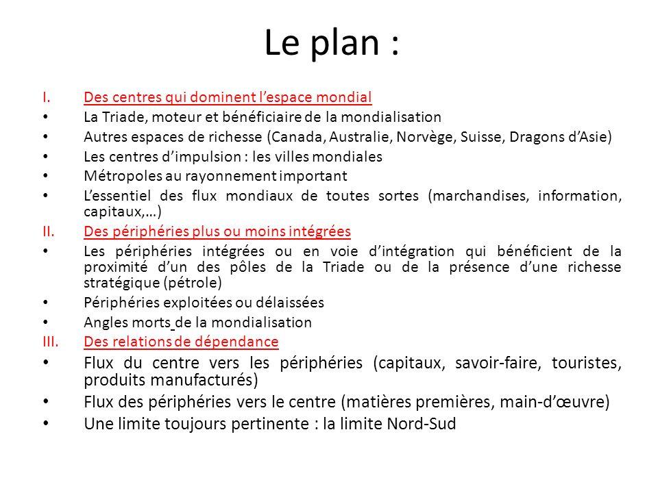 Le plan : I.Des centres qui dominent lespace mondial La Triade, moteur et bénéficiaire de la mondialisation Autres espaces de richesse (Canada, Austra