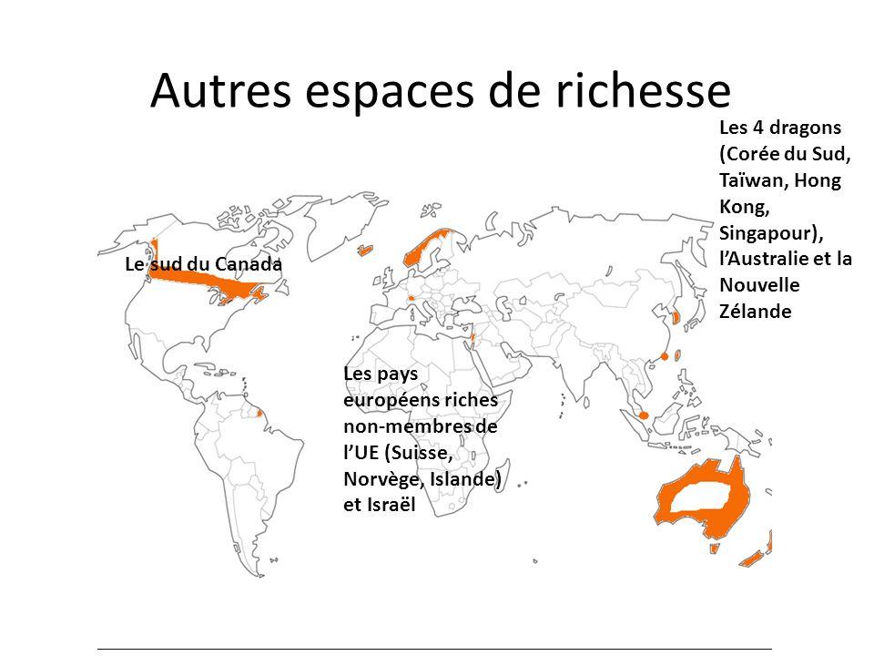 Autres espaces de richesse Le sud du Canada Les pays européens riches non-membres de lUE (Suisse, Norvège, Islande) et Israël Les 4 dragons (Corée du
