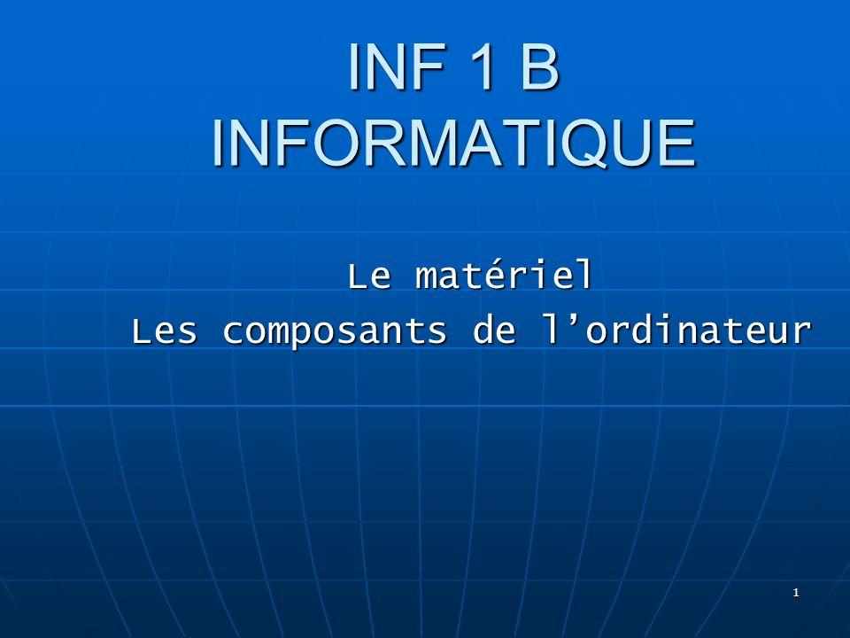 1 INF 1 B INFORMATIQUE Le matériel Les composants de lordinateur