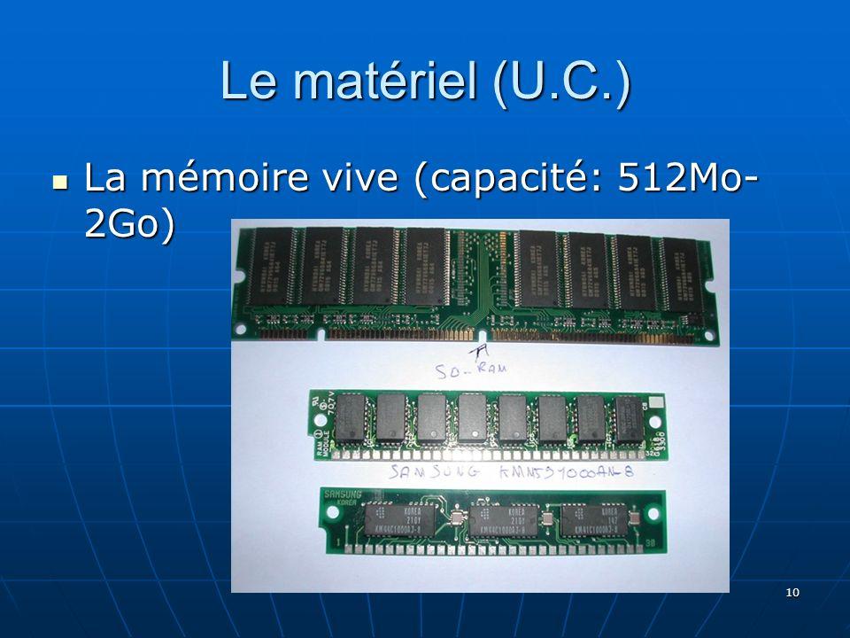 10 Le matériel (U.C.) La mémoire vive (capacité: 512Mo- 2Go) La mémoire vive (capacité: 512Mo- 2Go)