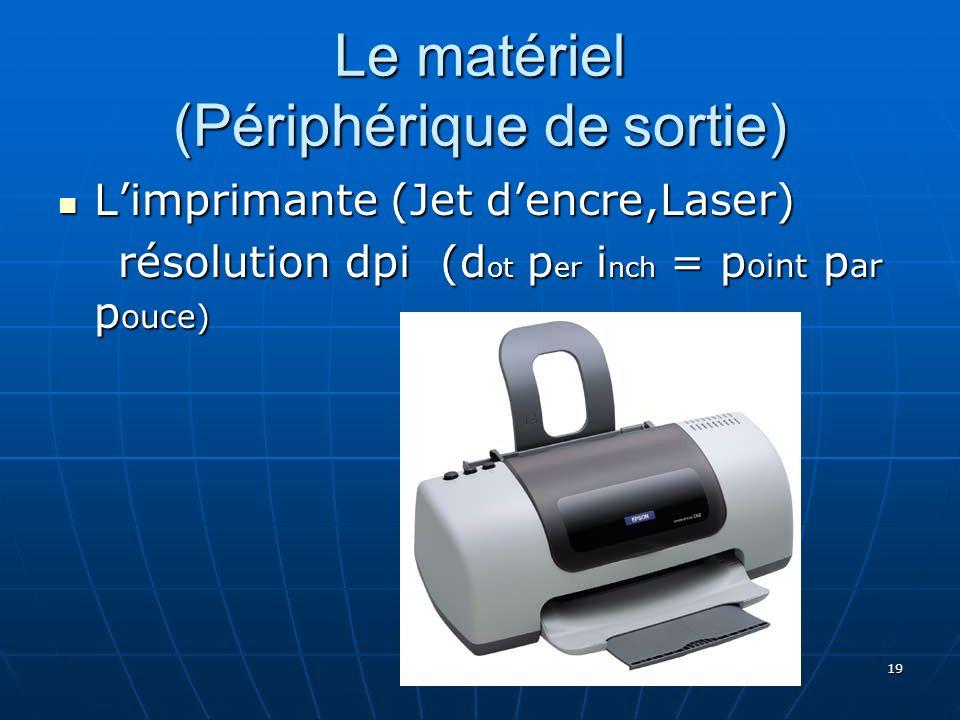 19 Le matériel (Périphérique de sortie) Limprimante (Jet dencre,Laser) Limprimante (Jet dencre,Laser) résolution dpi (d ot p er i nch = p oint p ar p