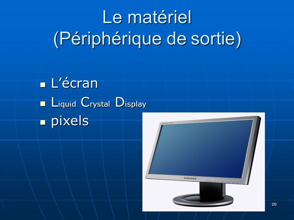 20 Le matériel (Périphérique de sortie) Lécran Lécran L iquid C rystal D isplay L iquid C rystal D isplay pixels pixels