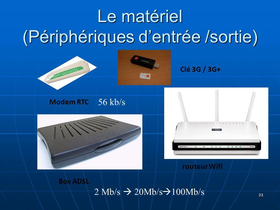 21 Le matériel (Périphériques dentrée /sortie) Modem RTC routeur Wifi Box ADSL 56 kb/s 2 Mb/s 20Mb/s 100Mb/s Clé 3G / 3G+