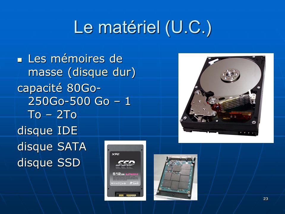 23 Le matériel (U.C.) Les mémoires de masse (disque dur) Les mémoires de masse (disque dur) capacité 80Go- 250Go-500 Go – 1 To – 2To disque IDE disque