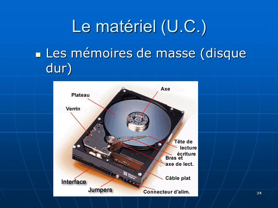 24 Le matériel (U.C.) Les mémoires de masse (disque dur) Les mémoires de masse (disque dur)