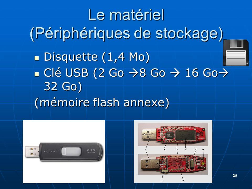 26 Le matériel (Périphériques de stockage) Disquette (1,4 Mo) Disquette (1,4 Mo) Clé USB (2 Go 8 Go 16 Go 32 Go) Clé USB (2 Go 8 Go 16 Go 32 Go) (mémo
