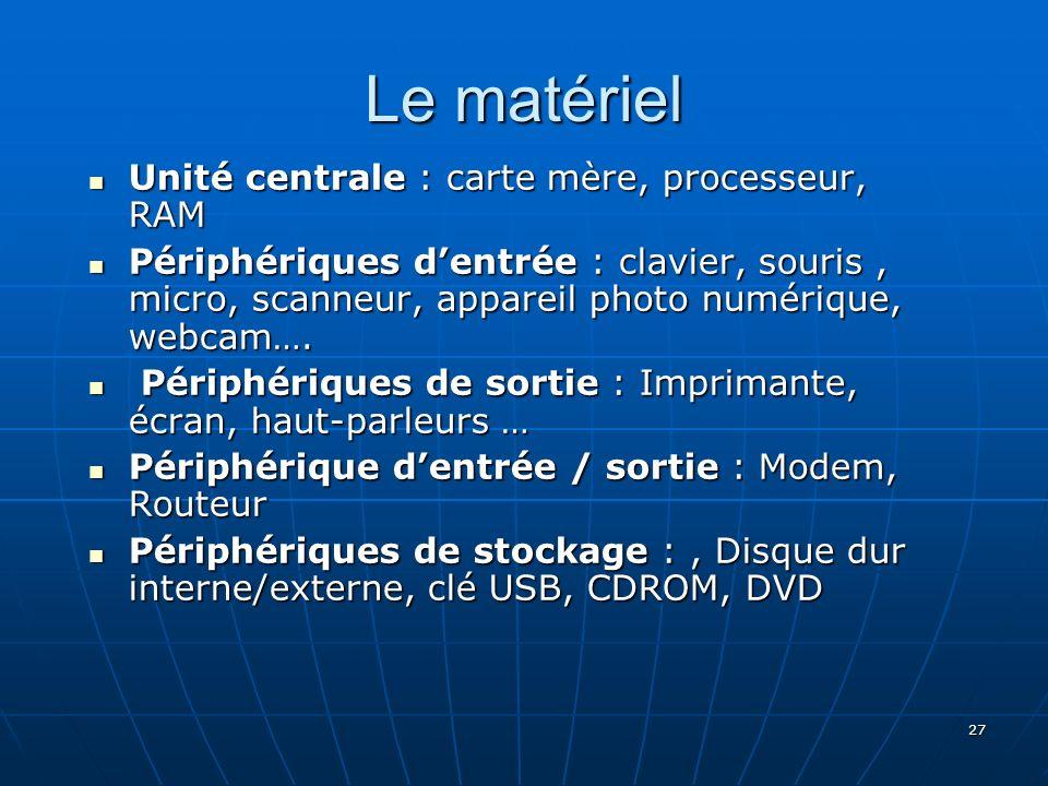27 Le matériel Unité centrale : carte mère, processeur, RAM Unité centrale : carte mère, processeur, RAM Périphériques dentrée : clavier, souris, micr