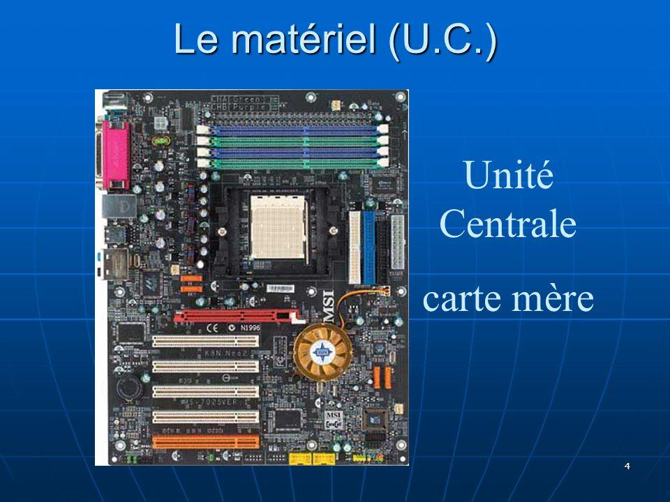 4 Le matériel (U.C.) Unité Centrale carte mère