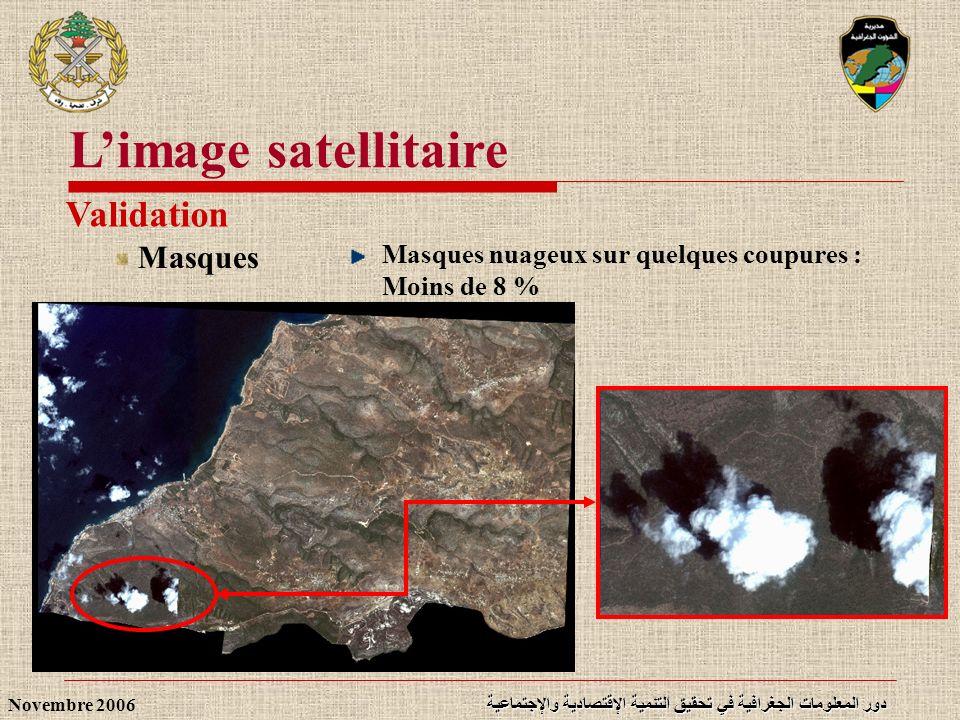 دور المعلومات الجغرافية في تحقيق التنمية الإقتصادية والإجتماعية Novembre 2006 Limage satellitaire Validation Masques Masques nuageux sur quelques coup